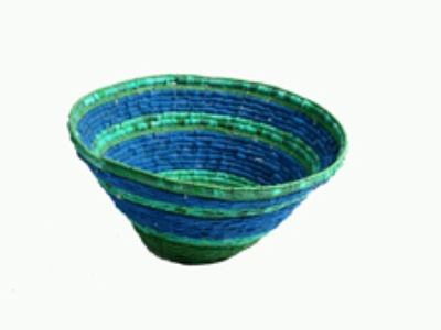 a bowl made of used flip-flop sandals