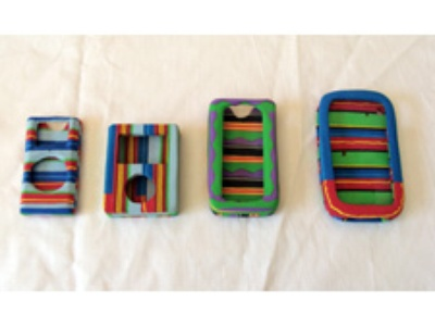 four different iPod cases made of used flip-flop sandals