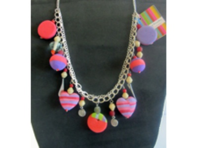 Necklace made of used flip-flop sandals