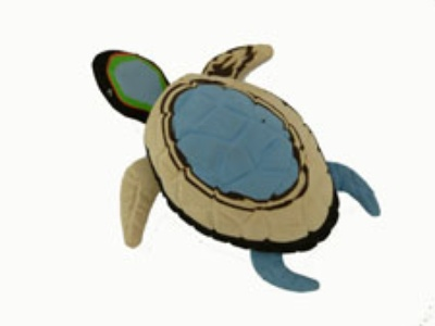 a small turtle made of used flip-flop sandals