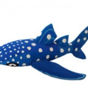 A custom whale shark made of used flip-flop sandals