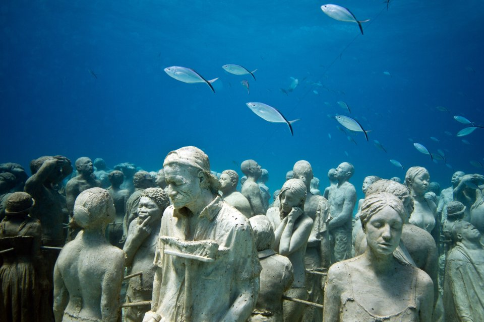 Underwater sculptures encourage corals to grow